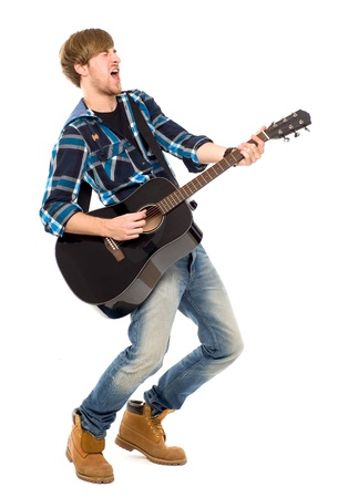 man playing guitar: Man playing acoustic guitar