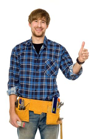 blue collar: Workman showing thumbs up