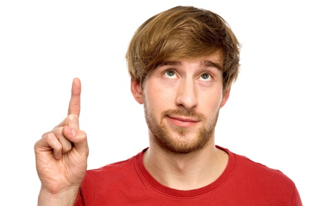 face shot: Young man pointing up