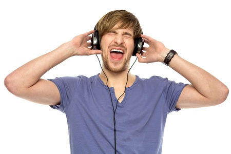 Young man wearing headphones photo