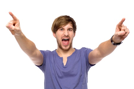 man screaming: Young man pointing
