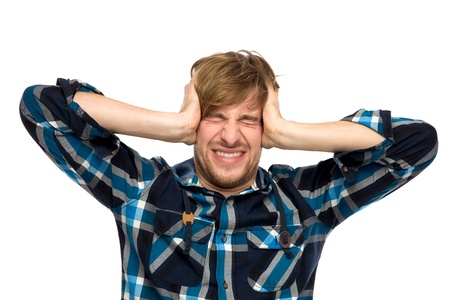 holding the head: Upset man holding head with hands Stock Photo