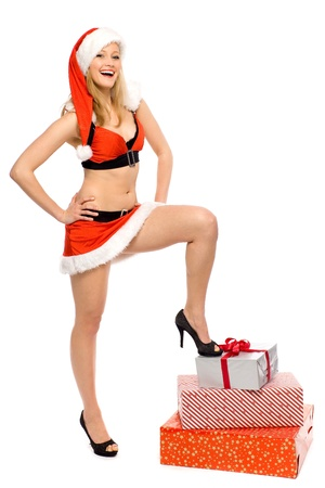 Sexy Santa woman with presents photo