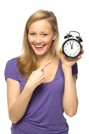 Woman holding clock photo