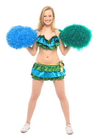 Cheerleader with pom-poms