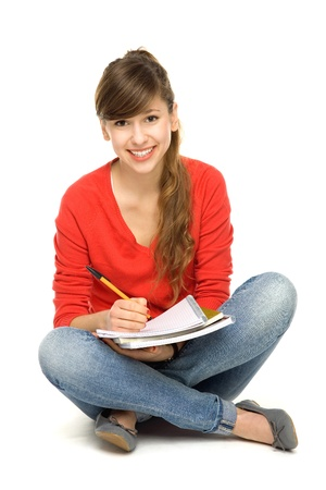 adult  body writing: Female student sitting