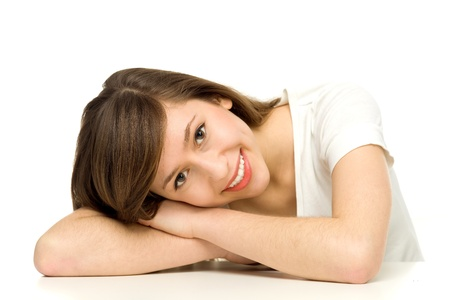 leaning: Attractive woman leaning on table  Stock Photo