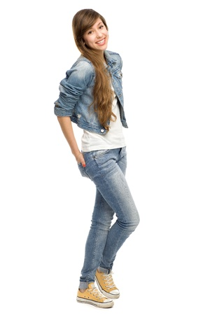 jeans girl: Casual young woman standing