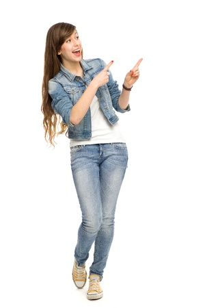 Young woman pointing  photo