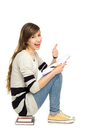 adult  body writing: Female student with thumbs up