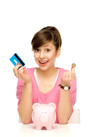 finance girl: Woman with piggy bank