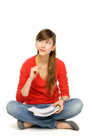 Female student thinking Stock Photo