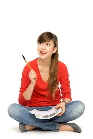 adult  body writing: Female student pointing Stock Photo