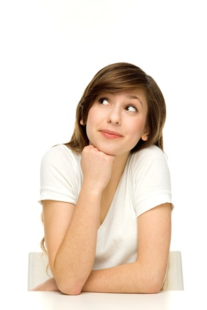 young cheering: Attractive woman leaning on table  Stock Photo