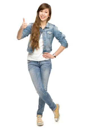 cheer full: Young woman showing thumbs up