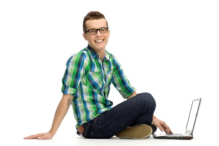 Young man using laptop photo
