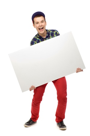 Teenager holding blank poster photo