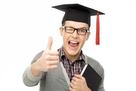 Graduate showing thumbs up photo