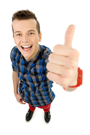 Young man showing thumbs up photo
