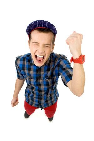 clenching fists: Guy clenching fists Stock Photo