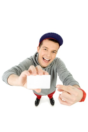 high angle shot: Casual young man with blank sign