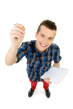 High angle view of student writing