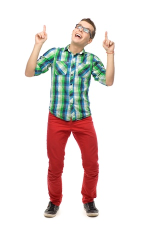 man pointing up: Young man pointing up
