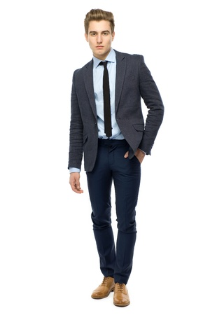 man in suit: Stylish man wearing suit Stock Photo