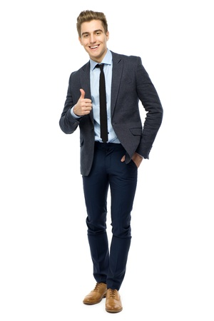 trendy: Young businessman showing thumbs up Stock Photo