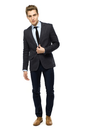 white body suit: Handsome young businessman  Stock Photo