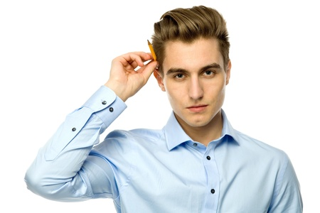 Man with a pencil behind his ear Stock Photo - 12749887