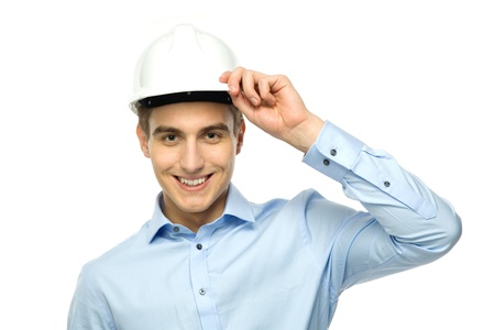 constructor: Young engineer wearing hardhat Stock Photo