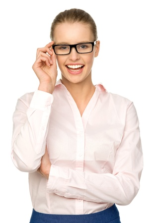 wearing glasses: Attractive woman wearing glasses
