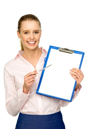 Businesswoman with pen and clipboard photo