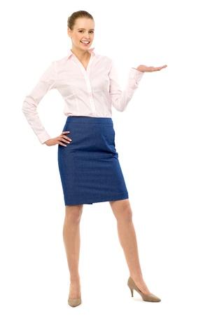 Woman presenting something photo