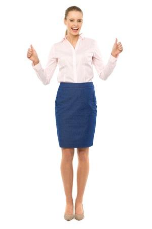 mujer cuerpo completo: Empresaria con los pulgares arriba Foto de archivo