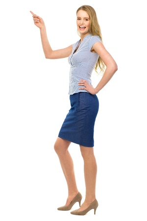lovely businesswoman: Woman pointing  Stock Photo