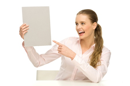 Woman holding blank poster photo