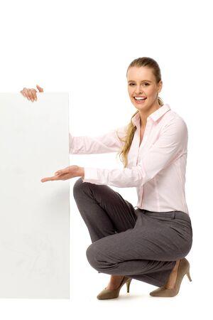 stilettos: Woman holding blank poster