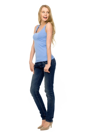jeans girl: Attractive young woman Stock Photo