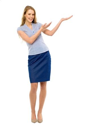 Businesswoman presenting something photo