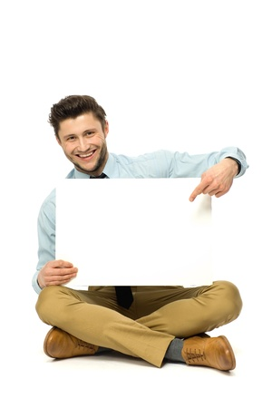 Man with blank poster