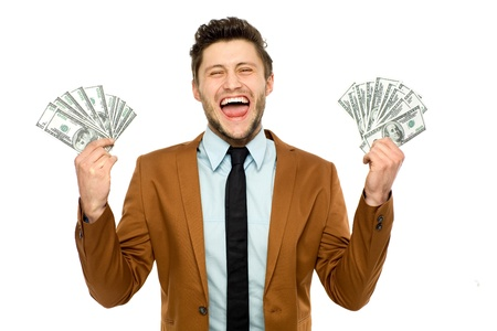 Man with dollar bills Stock Photo - 13063156