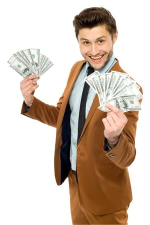 Man with dollar bills photo