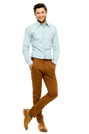 smiling young man: Casual man standing Stock Photo