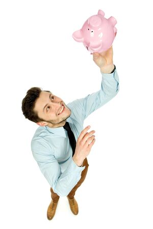Man with piggy bank photo