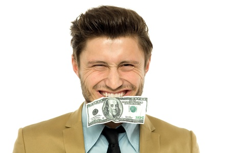dollarbill: Man with a dollar-bill in his mouth
