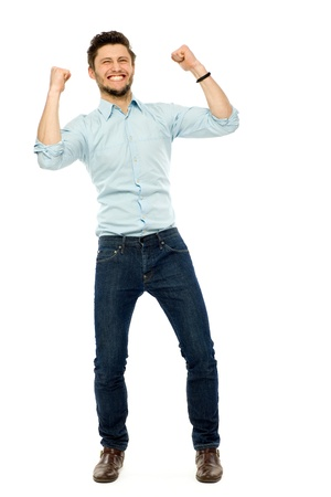 Successful businessman with clenched fists Stock Photo - 13193770