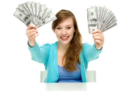 Woman holding dollar bills photo