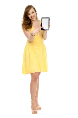 Woman holding tablet PC photo